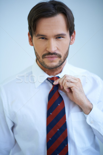 Attractive man adjusting his tie Stock photo © dash
