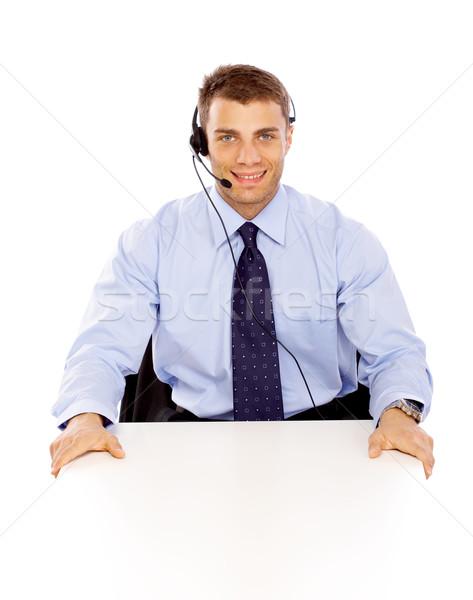 Retrato empresário jovem homem de negócios trabalhando isolado Foto stock © dash