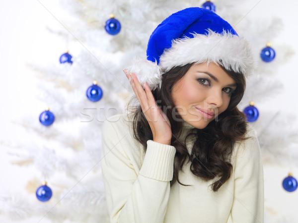 Azul natal pintinho bela mulher árvore de natal branco Foto stock © dash