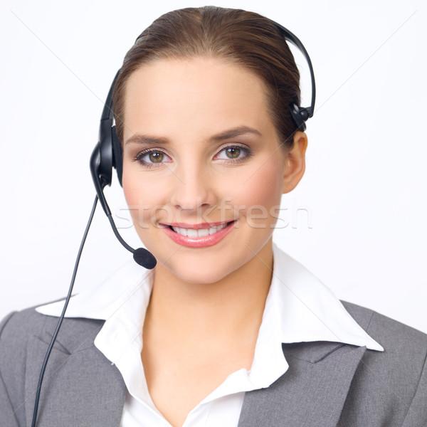 Bonitinho mulher de negócios retrato belo jovem fones de ouvido Foto stock © dash