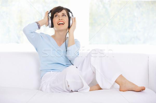 Stock foto: Täglich · Leben · Couch · hören · Haus