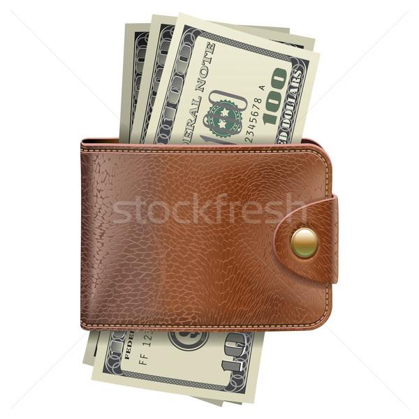Vektör cüzdan para yalıtılmış beyaz iş Stok fotoğraf © dashadima
