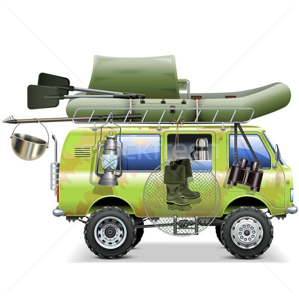 Stock fotó: Vektor · utazás · autó · halászat · kellékek · izolált