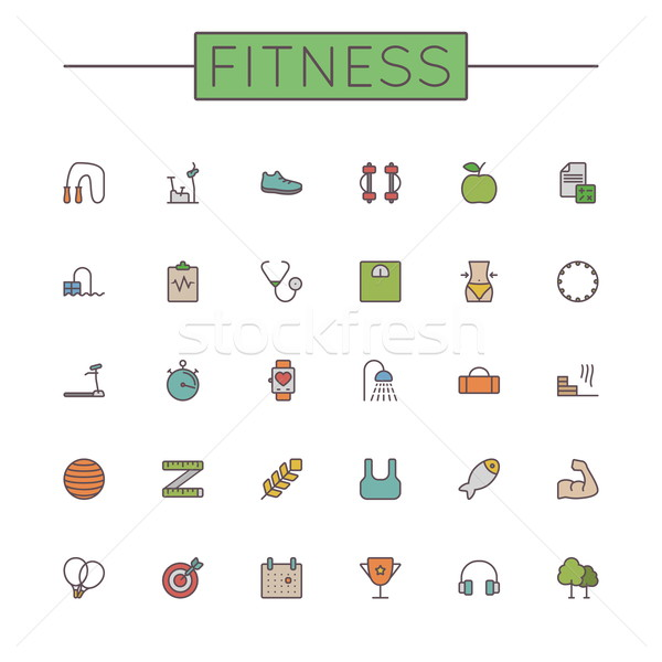 Stock photo: Vector Colored Fitness Line Icons