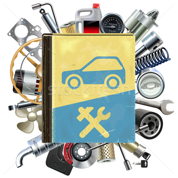 Vector Old Car Repair Book with Car Spares Stock photo © dashadima