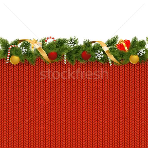 Photo stock: Vecteur · Noël · frontière · tricoté · modèle · isolé