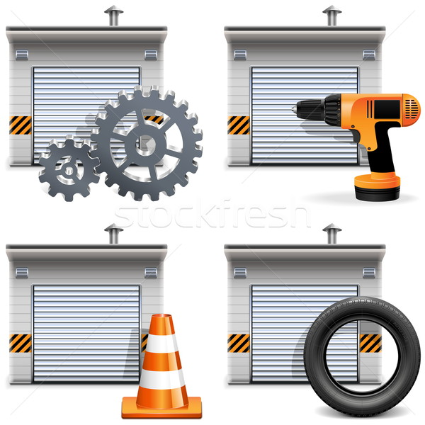 Vector Garage with Tools and Spares Stock photo © dashadima