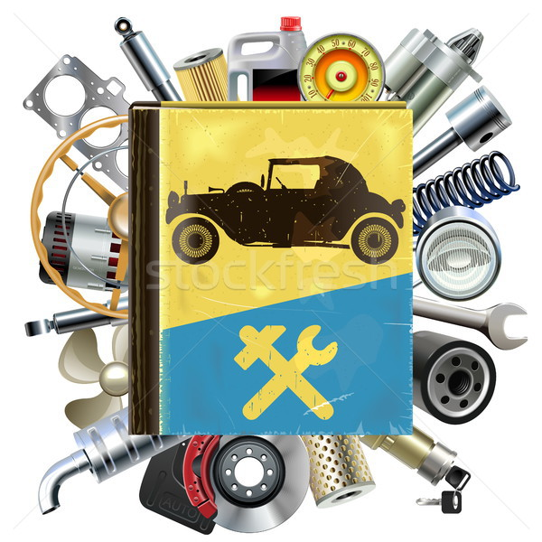 Vector Old Automobile Repair Book with Car Spares Stock photo © dashadima