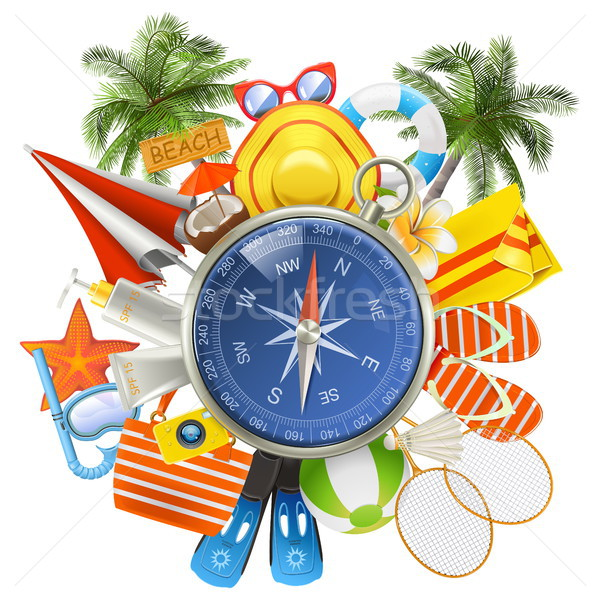 Vector Beach Accessories with Compass Stock photo © dashadima