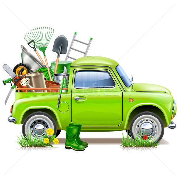 Vector Pickup Truck with Garden Accessories Stock photo © dashadima