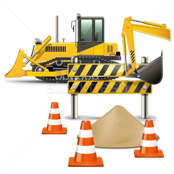 Vector Construction Machines with Barrier Stock photo © dashadima