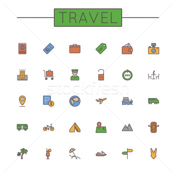 Vektor színes utazás vonal ikonok izolált Stock fotó © dashadima