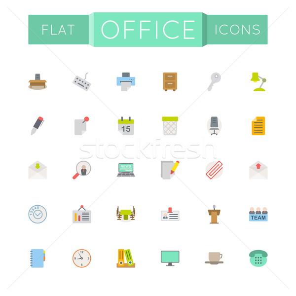 Vector Flat Office Icons Stock photo © dashadima