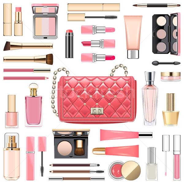 Vector Makeup Cosmetics with Pink Handbag Stock photo © dashadima
