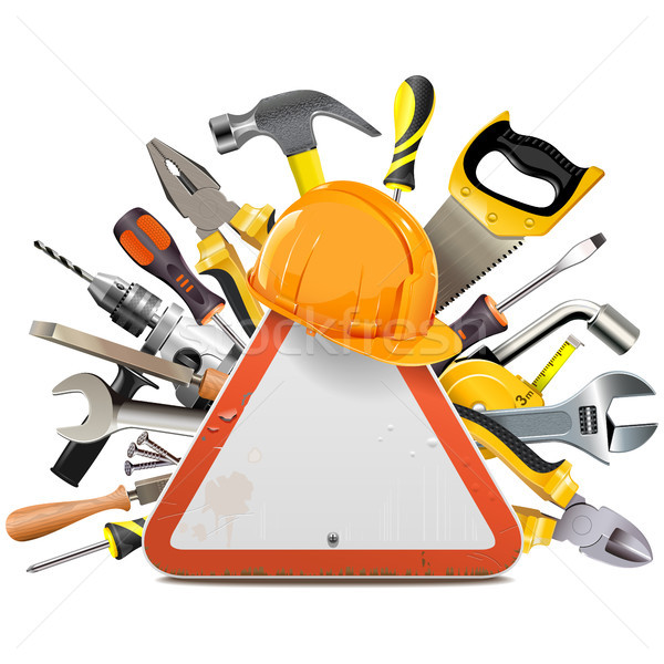Vector Road Sign with Tools Stock photo © dashadima