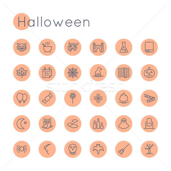 Vector Round Halloween Icons Stock photo © dashadima