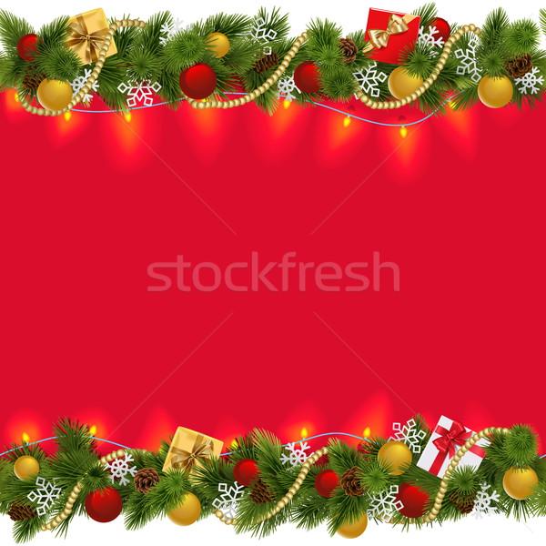 Vector Christmas Border with Garland 2 Stock photo © dashadima