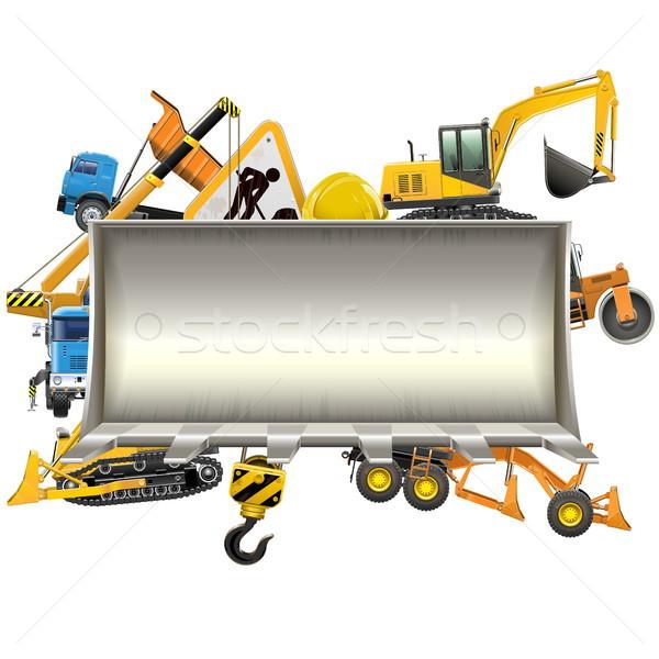 Vetor construção quadro escavadeira pá isolado Foto stock © dashadima