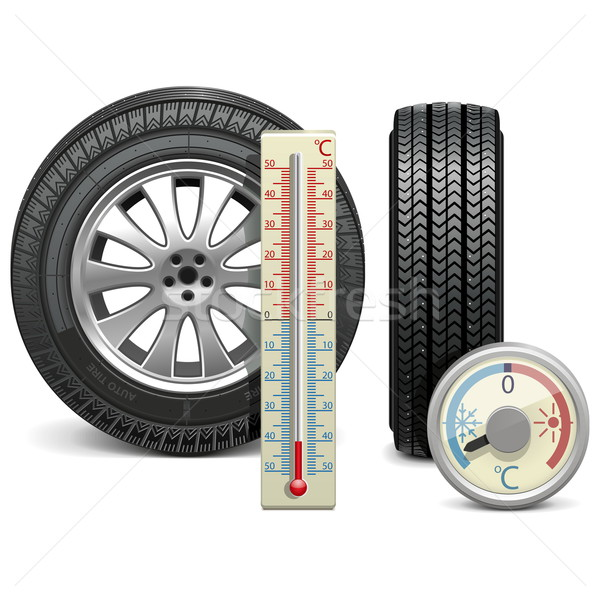 Vector Winter Tire and Thermometer Stock photo © dashadima