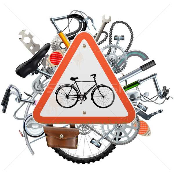 Vector Bicycle Spares Concept with Triangle Sign Stock photo © dashadima