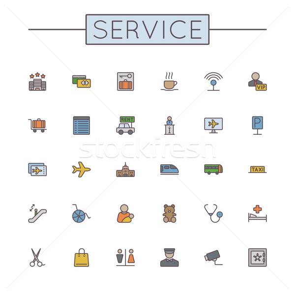 Vettore colorato servizio line icone isolato Foto d'archivio © dashadima