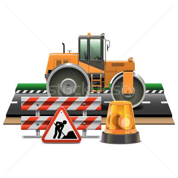 Stock photo: Vector Road Construction with Road Roller
