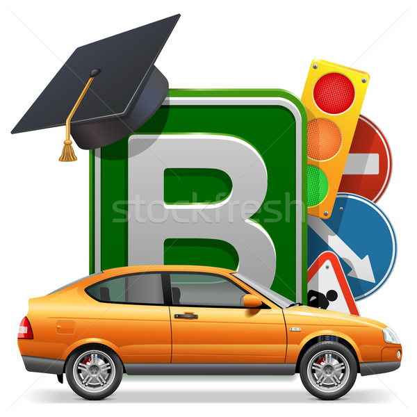 Vector Driving School Concept with Car Stock photo © dashadima