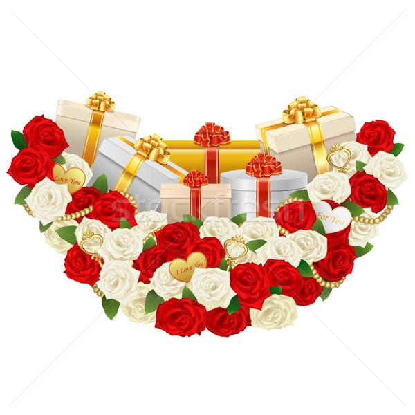 Foto d'archivio: Vettore · romantica · fiore · decorazione · regali · isolato