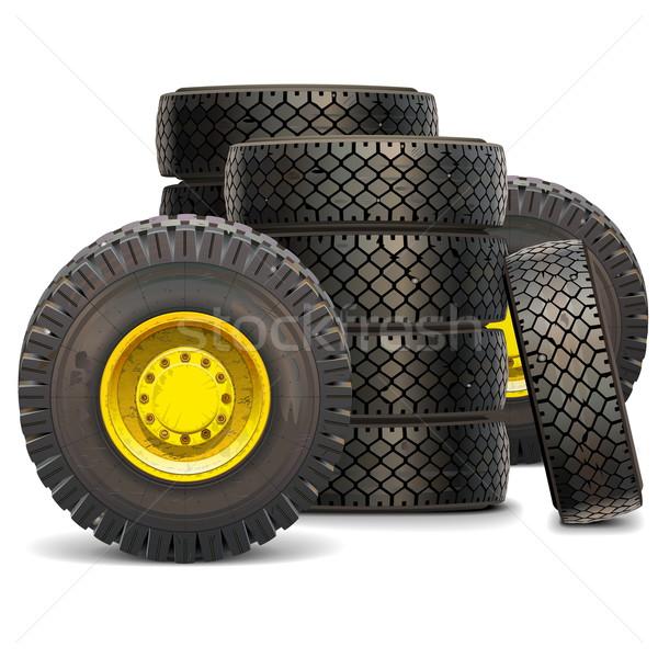 Foto stock: Vector · edad · tractor · rueda · establecer · aislado
