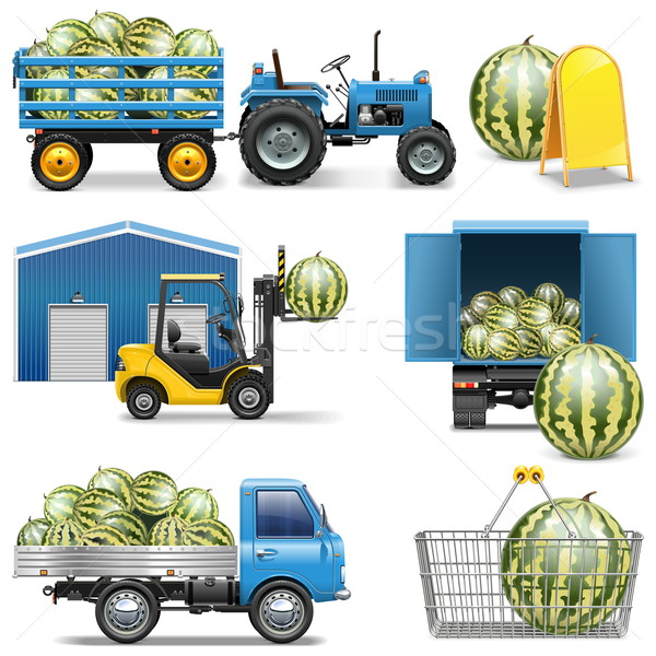 Vector Watermelon Shipping Icons Stock photo © dashadima