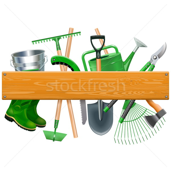 Vector Wooden Board with Garden Tools Stock photo © dashadima