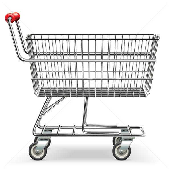 Stockfoto: Vector · lege · supermarkt · winkelwagen · geïsoleerd · witte
