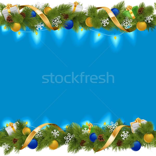 Vector azul Navidad frontera guirnalda aislado Foto stock © dashadima
