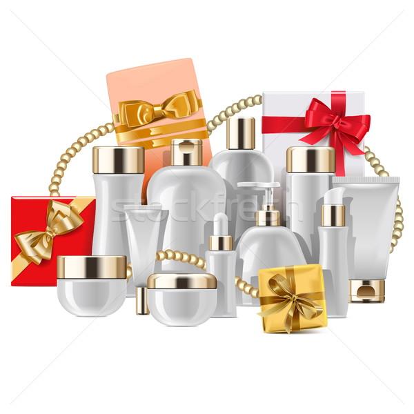Vektör kozmetik paketleme hediyeler yalıtılmış beyaz Stok fotoğraf © dashadima