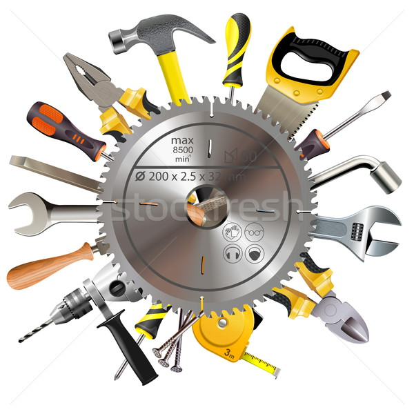 Stock photo: Vector Saw Blade with Tools