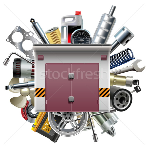Vector Garage with Car Spares Stock photo © dashadima