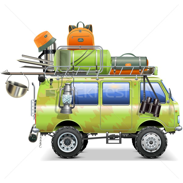 Stock photo: Vector Travel Car with Camping Accessories