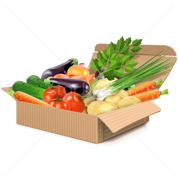 Vector Carton Box with Vegetables Stock photo © dashadima