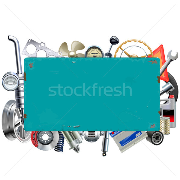 Vector Rusty Billboard with Car Parts Stock photo © dashadima