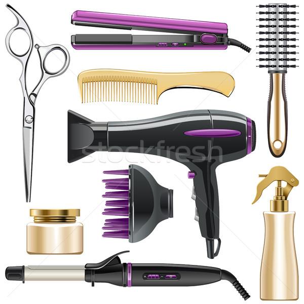 Vector Hair Styling Icons Stock photo © dashadima