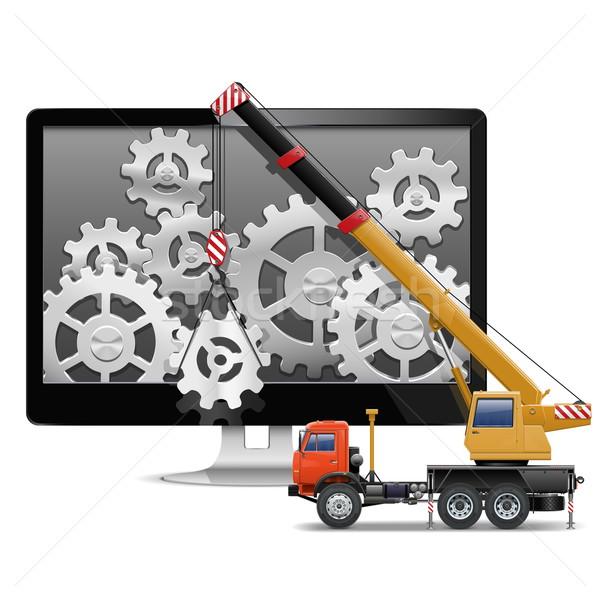 Vetor reparação de computadores negócio construção projeto caminhão Foto stock © dashadima