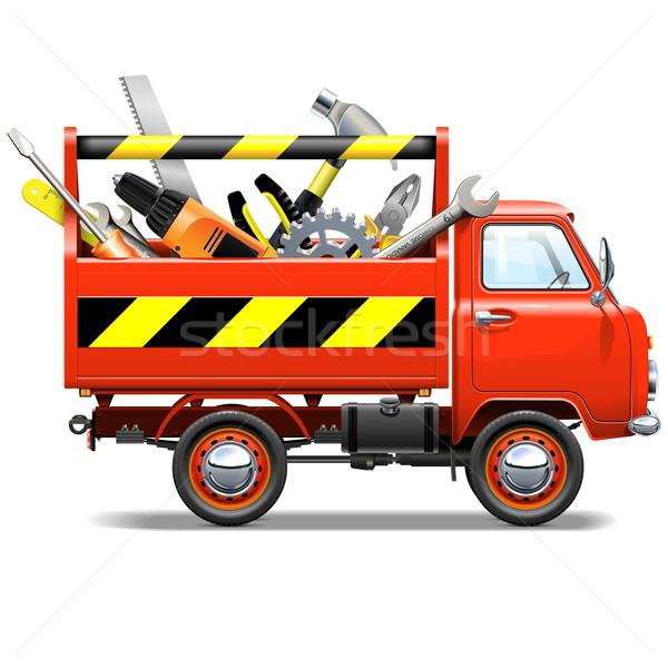 Foto d'archivio: Vettore · rosso · camion · cassetta · degli · attrezzi · isolato · bianco