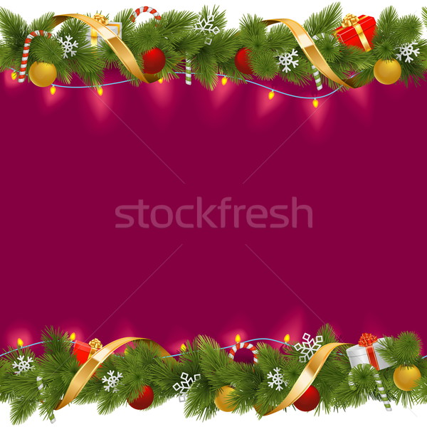 Vector Christmas Border with Garland Stock photo © dashadima