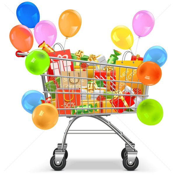 Vector Supermarket Trolley with Gifts Stock photo © dashadima