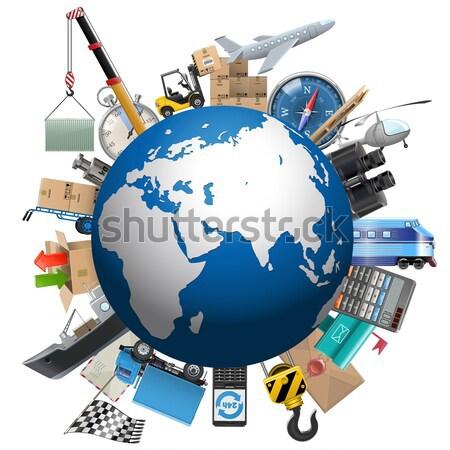 Vektor globális üzlet izolált fehér világ grafikon Stock fotó © dashadima