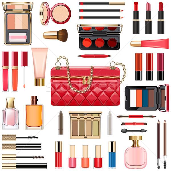 Vetor make-up cosméticos vermelho bolsa isolado Foto stock © dashadima