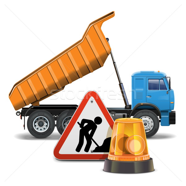 Vector Tipper with Sign and Beacon Stock photo © dashadima