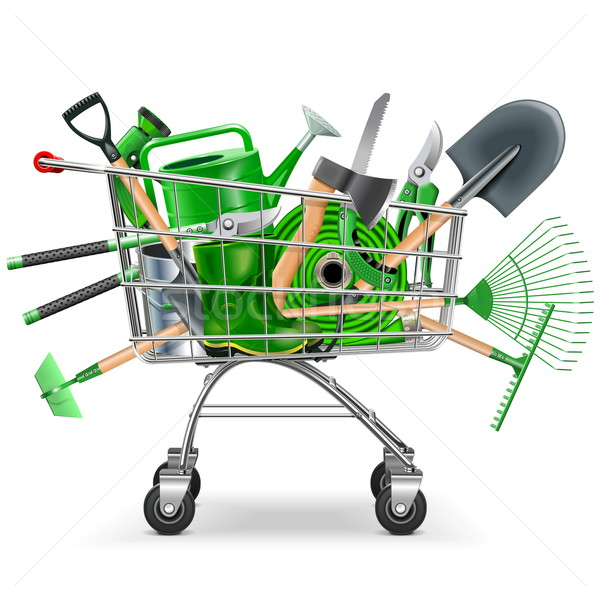 Vector Supermarket Trolley with Garden Accessories Stock photo © dashadima