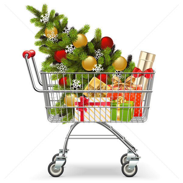 Stock photo: Vector Supermarket Cart with Christmas Tree