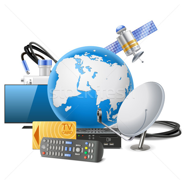 Vector Globe with Satellite Equipment Stock photo © dashadima
